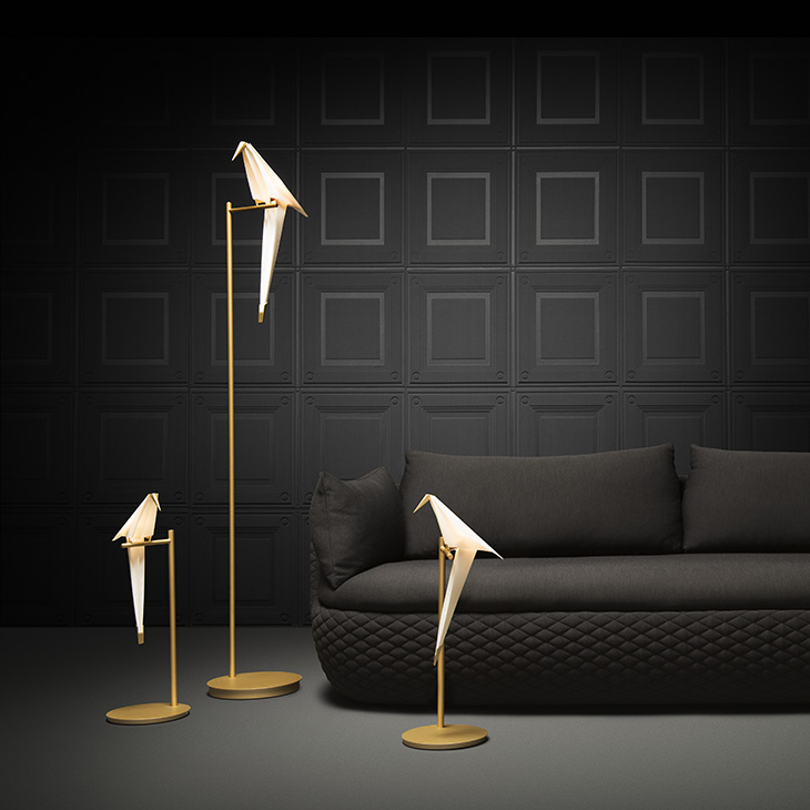 modern living room featuring moooi perch light floor lamp and two perch light table lamps