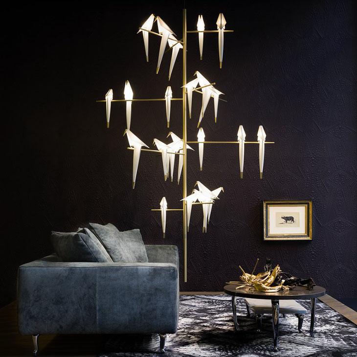 modern living room featuring moooi perch light tree pendant