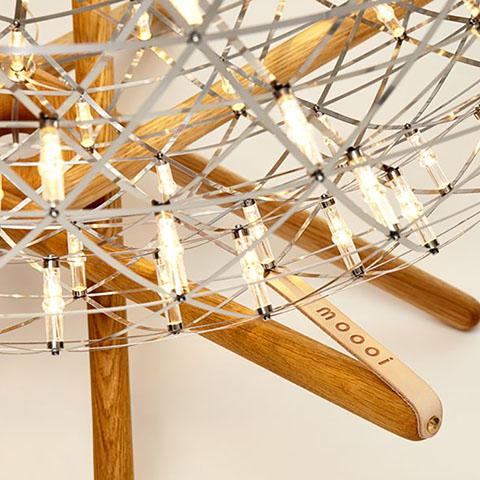 close up of a moooi raimond tensegrity floor lamp