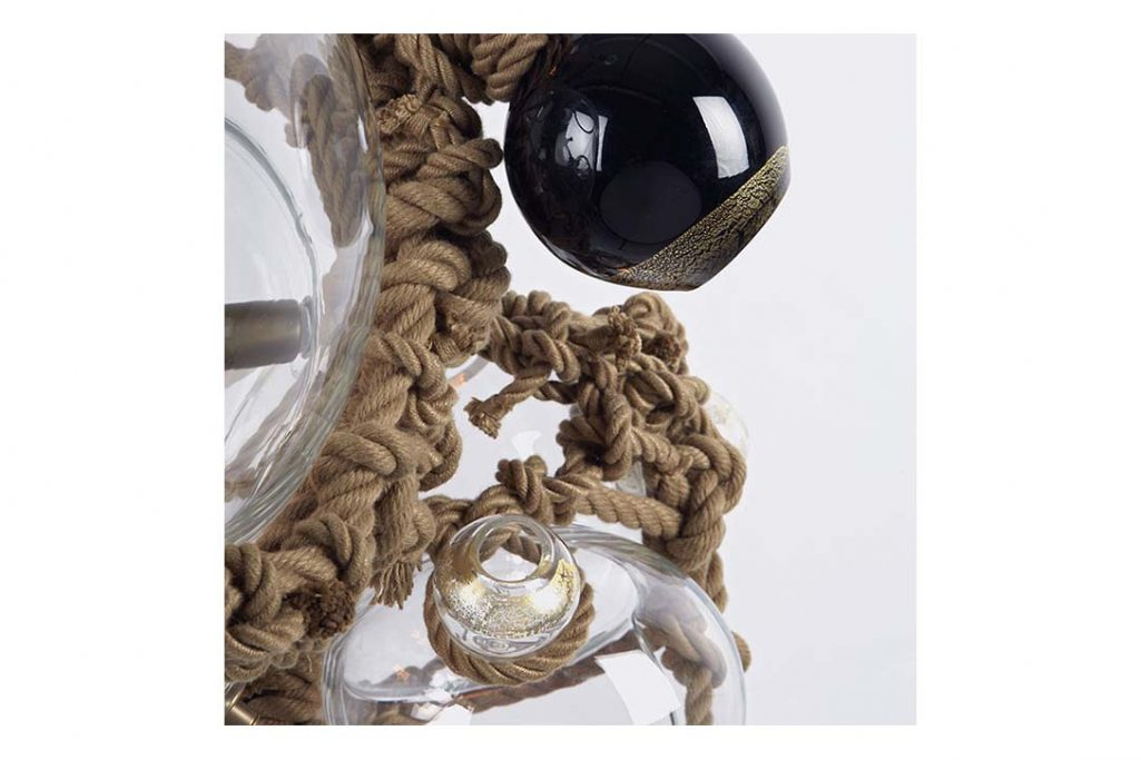close up of a roll & hill knotty bubbles chandelier