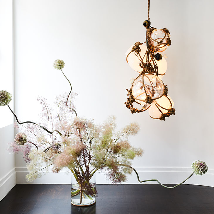 roll & hill knotty bubbles chandelier in situ