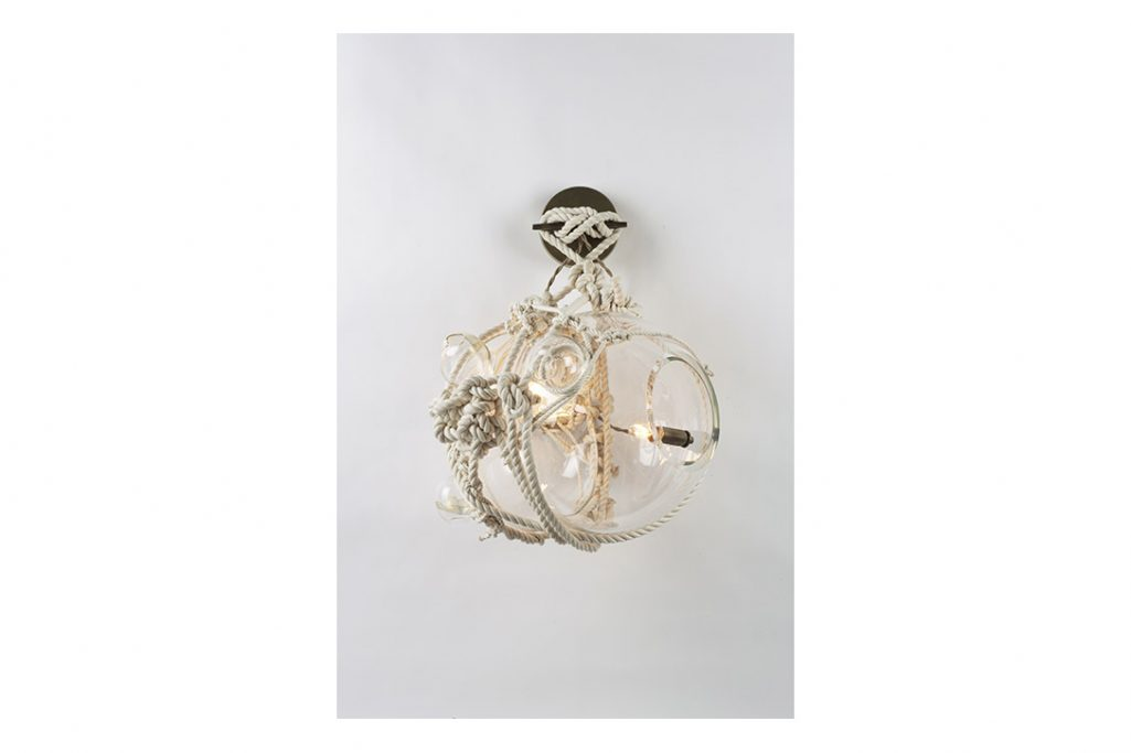 roll and hill knotty bubbles sconce large natural clear