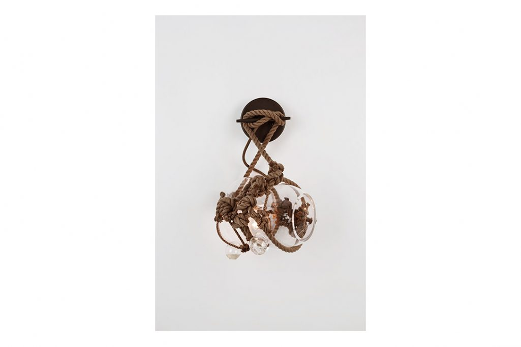 roll and hill knotty bubbles sconce small khaki clear