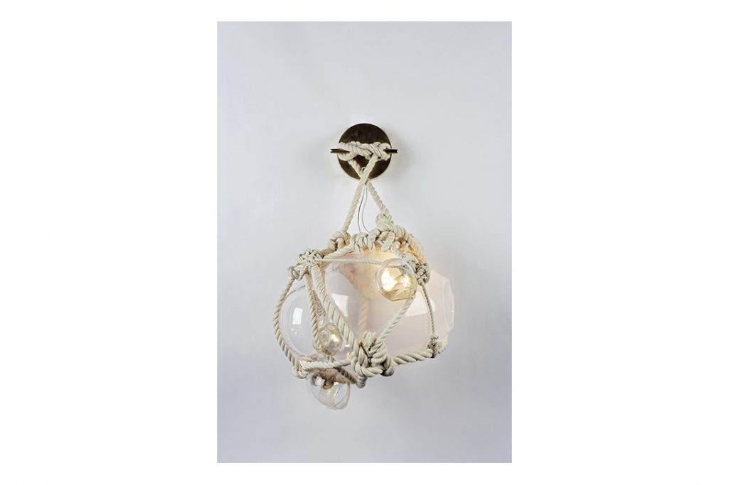 roll and hill knotty bubbles sconce small natural