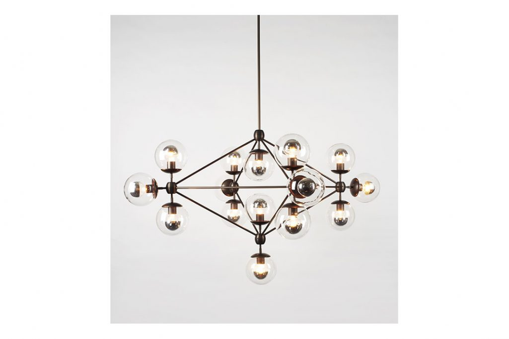 roll and hill modo chandelier 4-sided bronze and clear