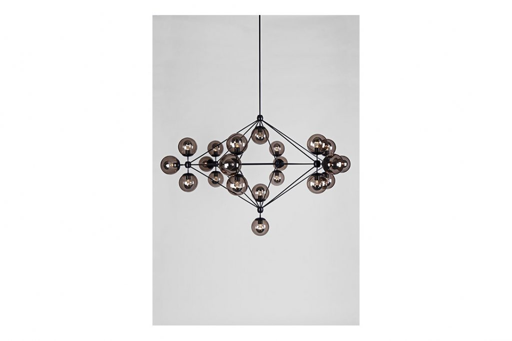 roll and hill modo chandelier 6-sided black and smoke