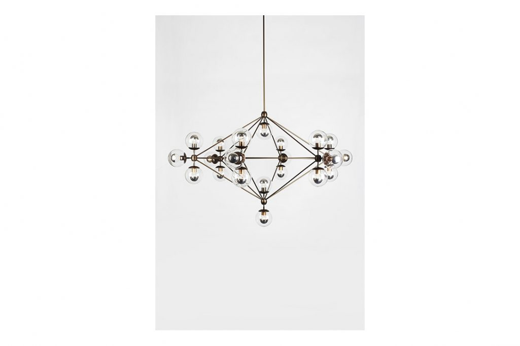 roll and hill modo chandelier 6-sided bronze and clear