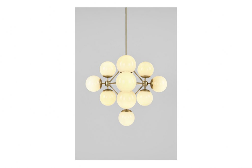 roll and hill modo chandelier diamond brass and cream