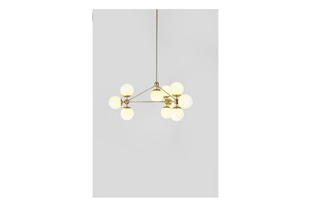 roll and hill modo chandelier 3-sided brass cream