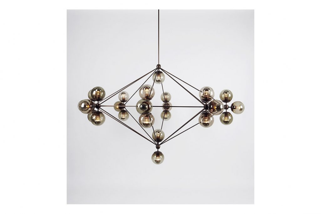 roll and hill modo chandelier 8-sided bronze and smoke