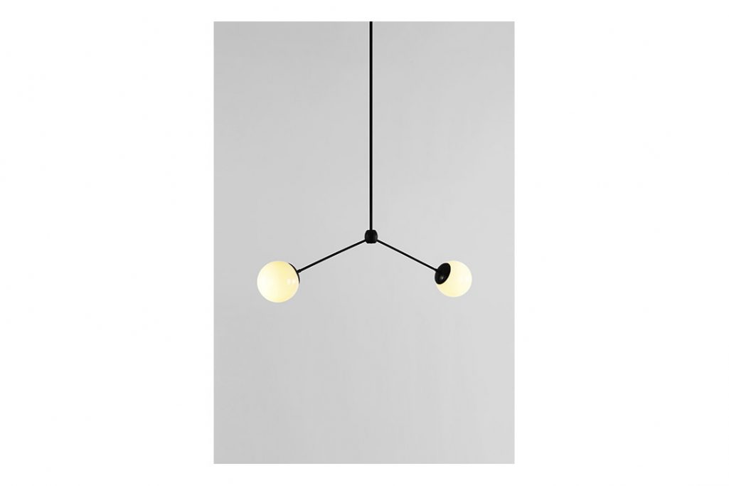roll and hill modo pendant 2 globes black and cream