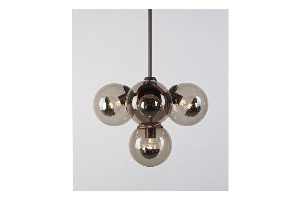 roll and hill modo pendant 5 globes bronze and smoke