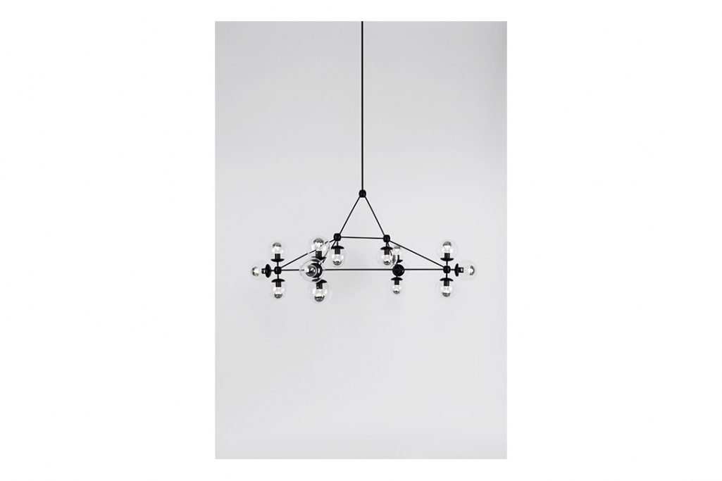 roll and hill modo chandelier rectangle black and clear