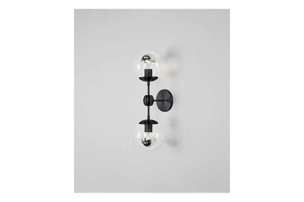 roll and hill modo sconce 2 globes black and clear