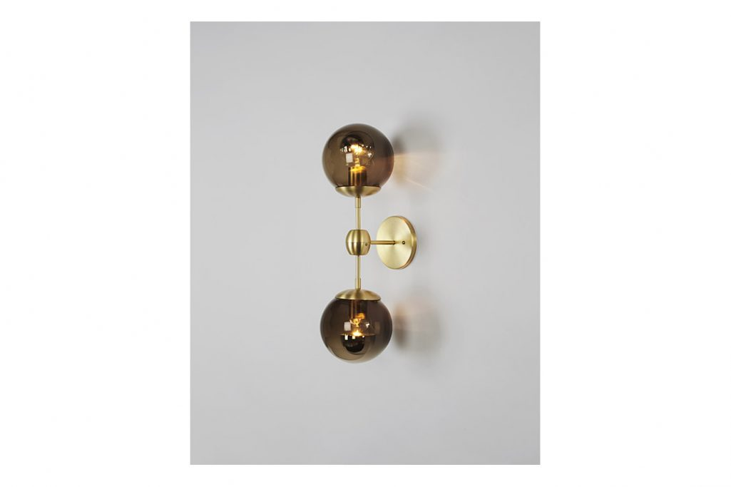 roll and hill modo sconce 2 globes brass and smoke