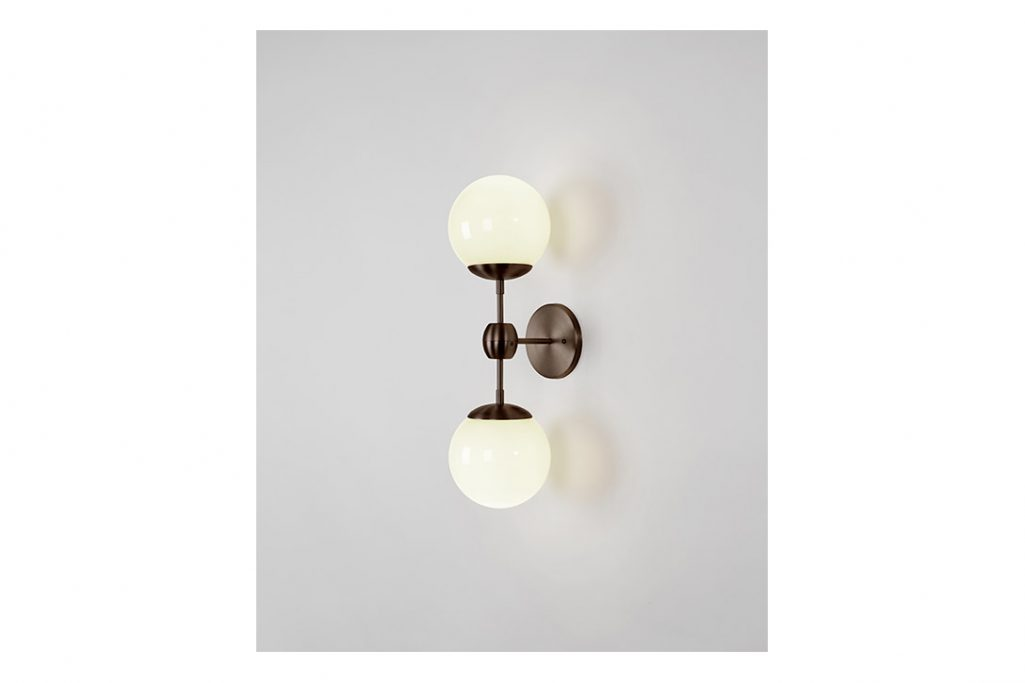 roll and hill modo sconce 2 globes bronze and cream