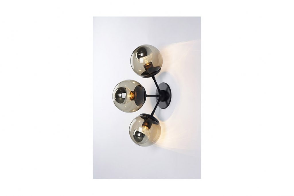 roll and hill modo sconce 3 globes black and smoke