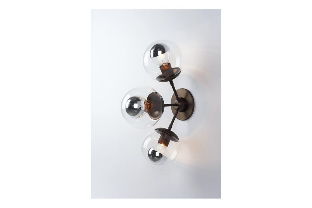 roll and hill modo sconce 3 globes bronze and clear