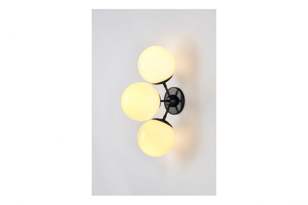 roll and hill modo sconce 3 globes bronze and cream