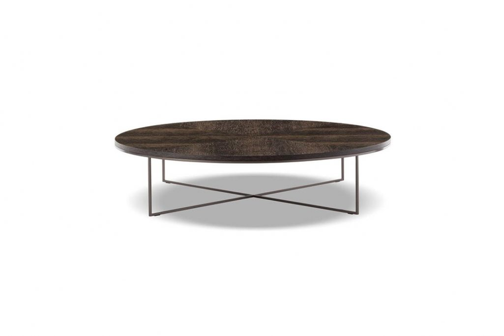 minotti calder bronze coffee table on a white background