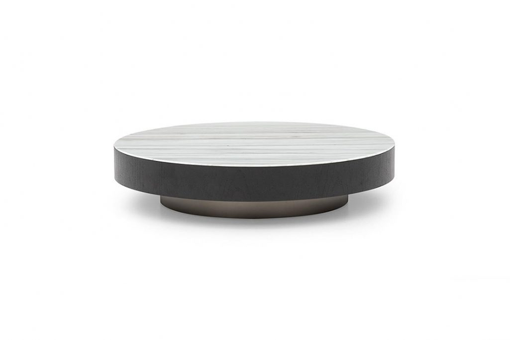 round minotti milton coffee table on a white background