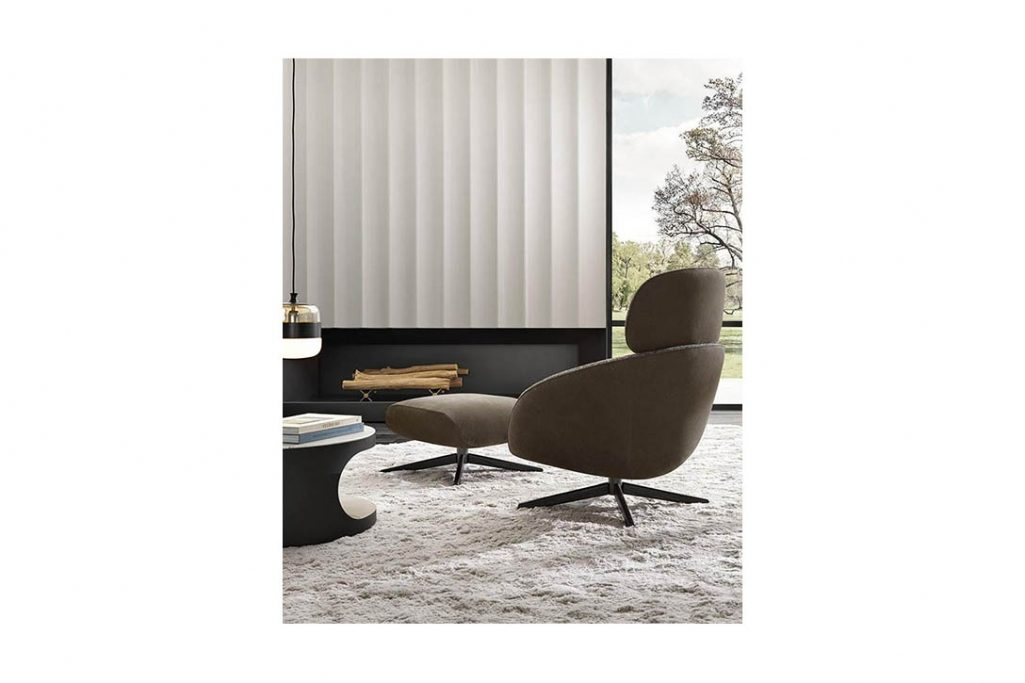 minotti russell armchair and ottoman in situ