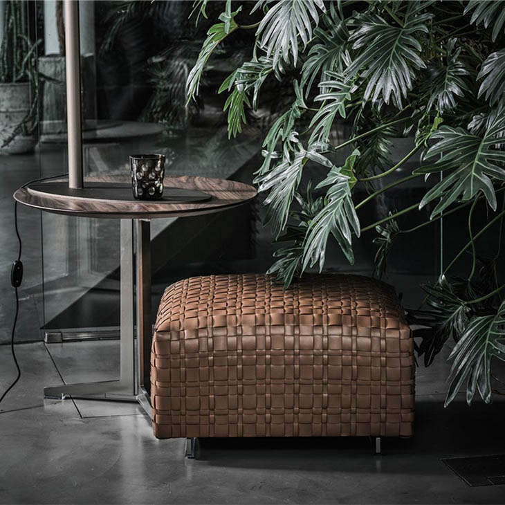 flexform bangkok ottoman and fly side table in situ