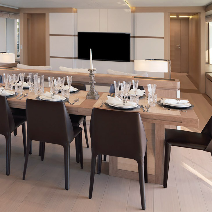 modern dining room featuring flexform isabel dining chairs