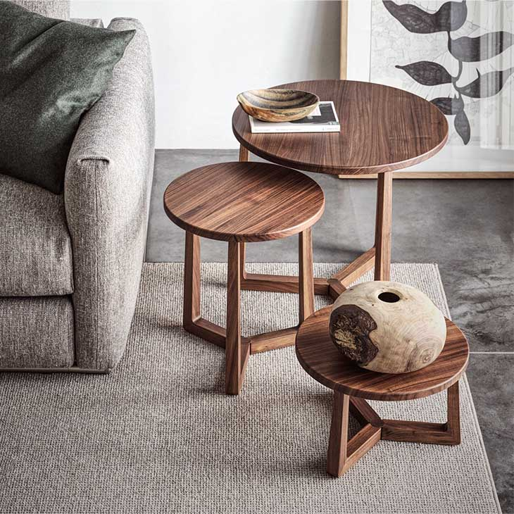 modern living room featuring three flexform jiff side tables