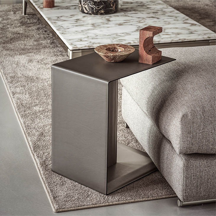 modern living room featuring a flexform plain side table