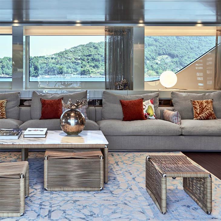 flexform tindari coffee table and ottomans in situ