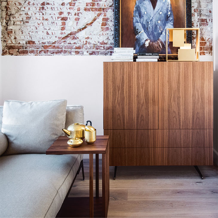 modern living room featuring a flexform vienna side table