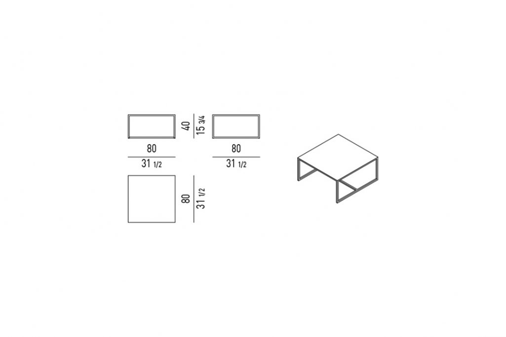 line drawing and dimensions for minotti duchamp bronze coffee table