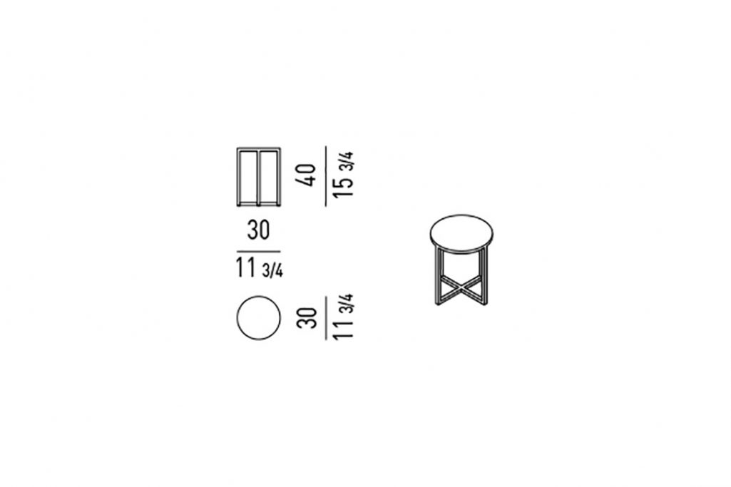 line drawing and dimensions for minotti duchamp bronze table round
