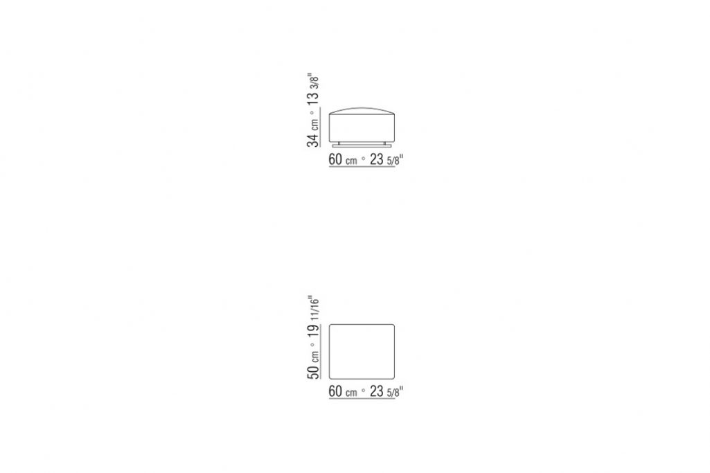 line drawing and dimensions for flexform a.b.c. ottoman