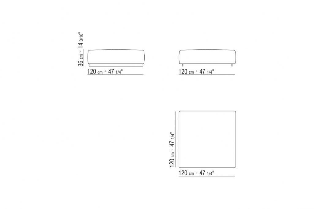 line drawing and dimensions for a flexform bangkok ottoman upholstered large