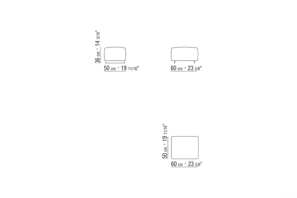 line drawing and dimensions for a flexform bangkok ottoman upholstered small