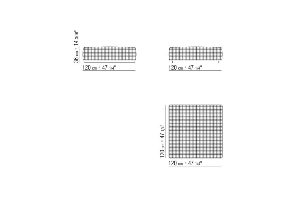 line drawing and dimensions for a flexform bangkok ottoman woven large