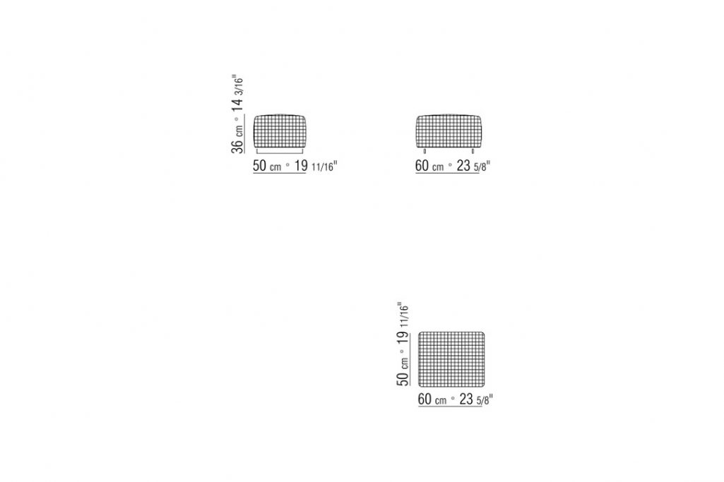 line drawing and dimensions for a flexform bangkok ottoman woven small