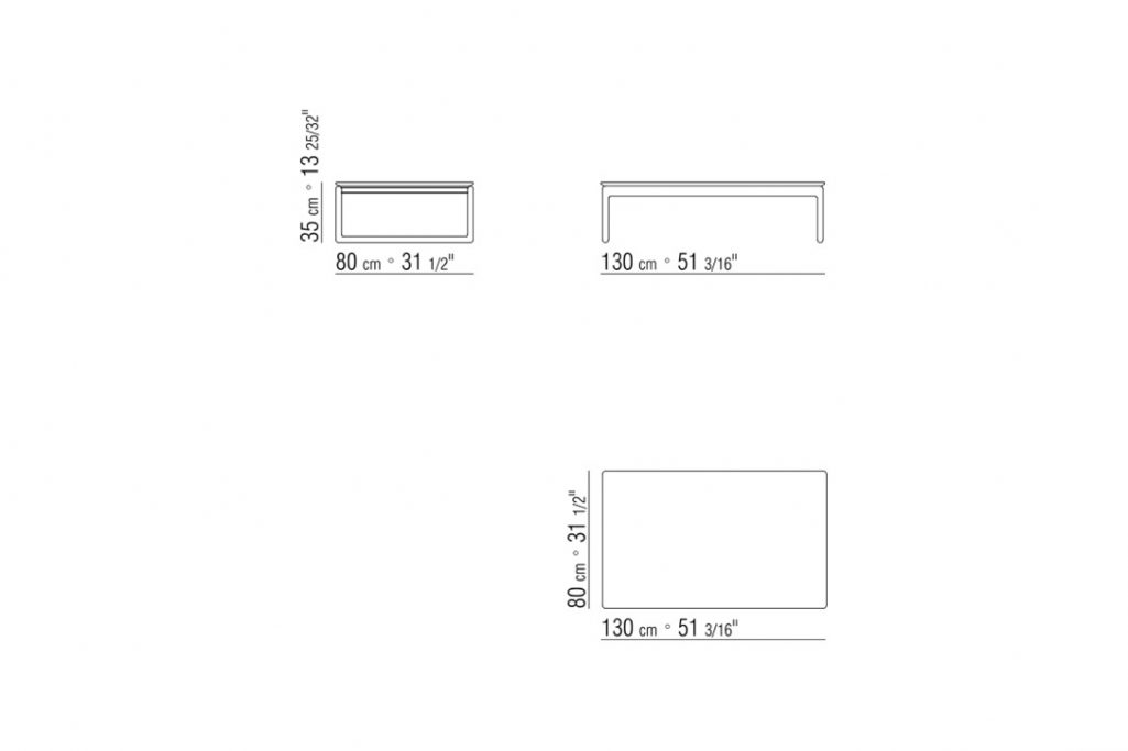 """line drawing and dimensions for a flexform brig coffee table 51"""""""