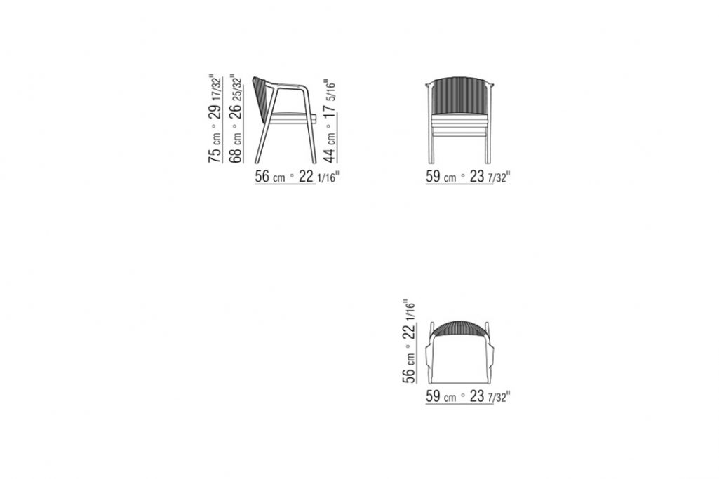 line drawing and dimensions for flexform crono dining chair