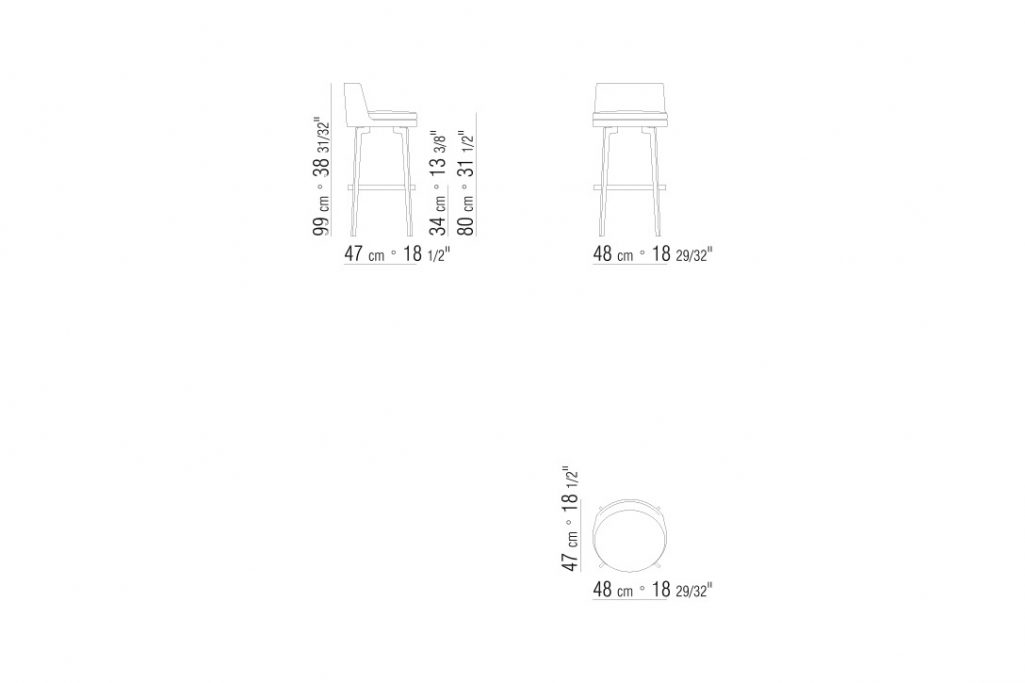 line drawing and dimensions for flexform feel good stool bar height