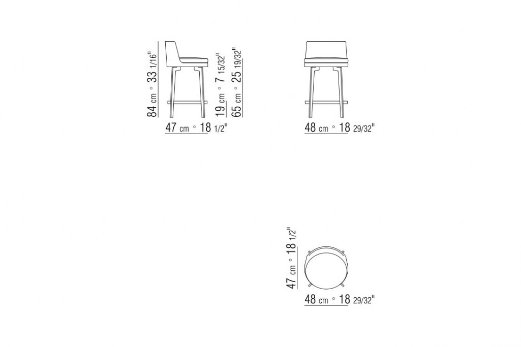line drawing and dimensions for flexform feel good stool counter height