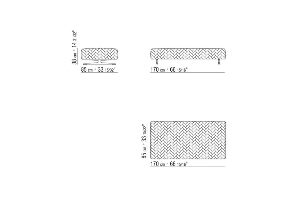 line drawing and dimensions for flexform filicudi ottoman large