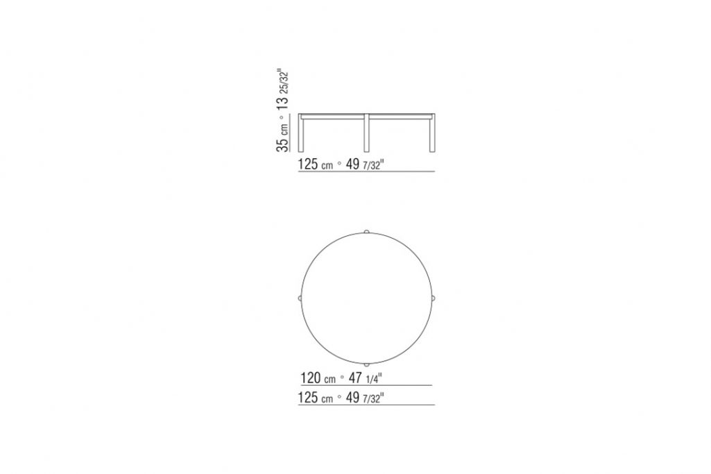 line drawing and dimensions for flexform gustav coffee table