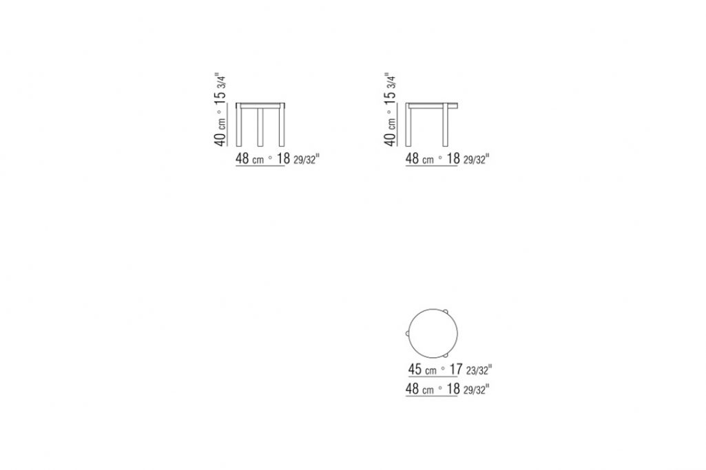 """line drawing and dimensions for flexform gustav side table 18"""""""