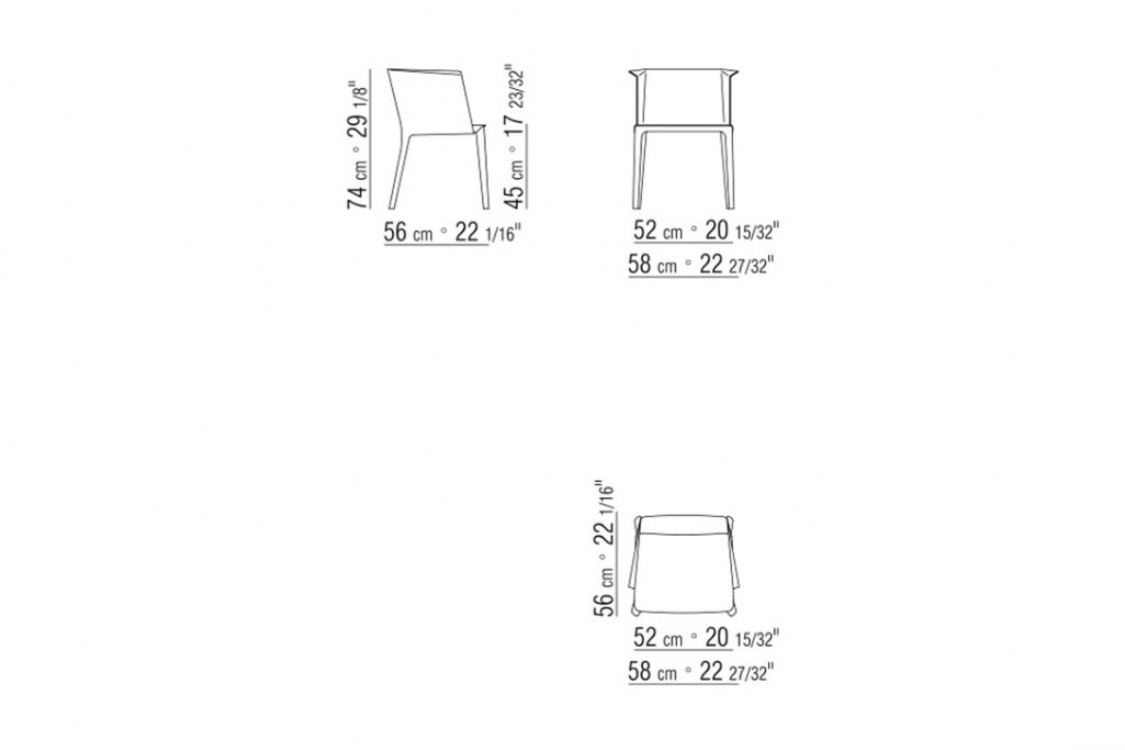 line drawing and dimensions for flexform isabel dining arm chair