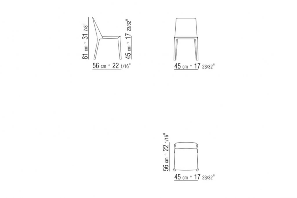 line drawing and dimensions for flexform isabel dining chair