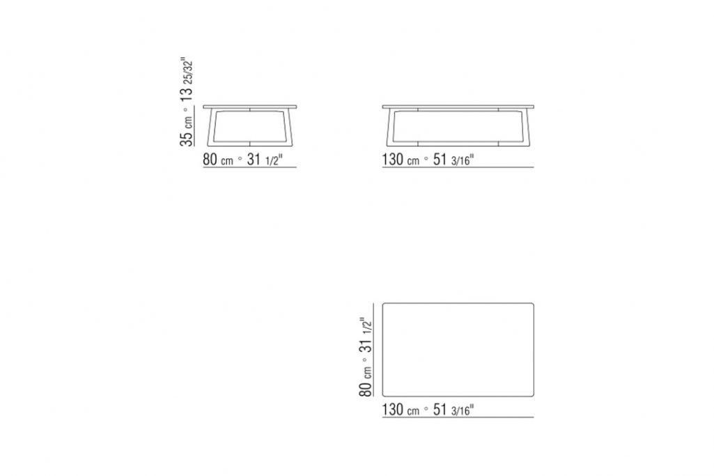 line drawing and dimensions for flexform jiff coffee table