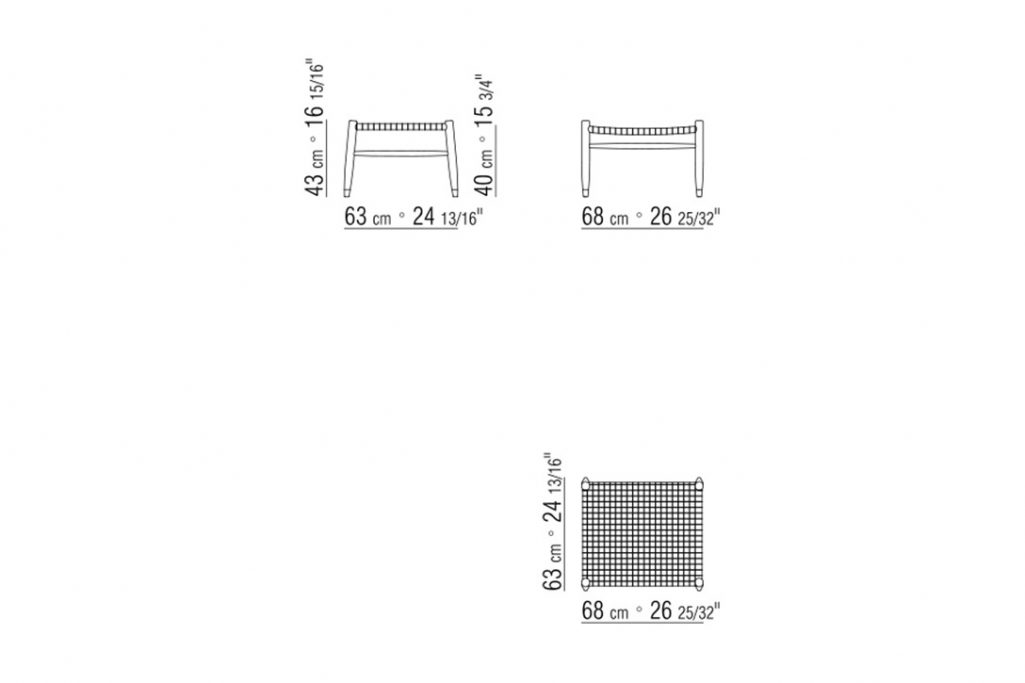 line drawing and dimensions for flexform tessa ottoman